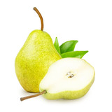 Fototapety Pear with green leaves