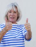 dynamic positive senior woman poster