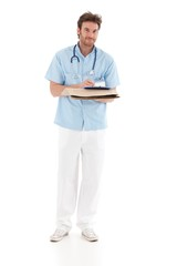 Goodlooking doctor writing notes