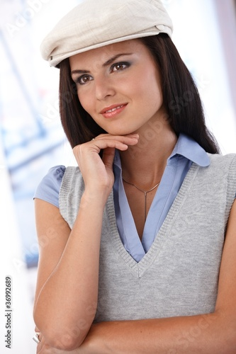 Portrait of trendy girl in hat