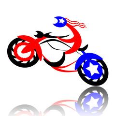 American biker jumping on high-speed motorcycle