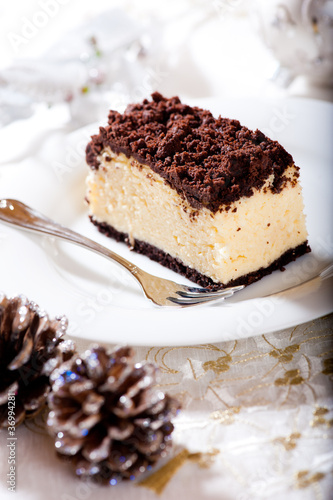 Piece of delicious cheesecake for Christmas