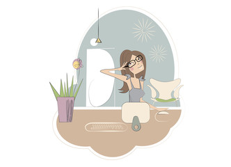 Print vector - modern woman working at home