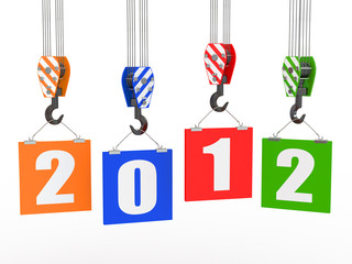 New Year 2012. Crane hooks with boards