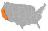 mapa spojených států, kalifornie, zvýrazněné