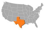 mapa spojených států, texas zvýrazněny