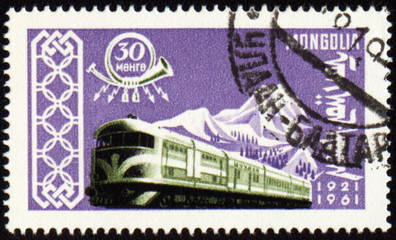 Train on post stamp