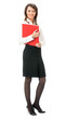 Full body of businesswoman with red folder, on white