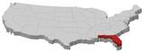 mapa spojených států, florida zvýrazněny