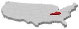 mapa spojených států, kentucky zvýrazněny