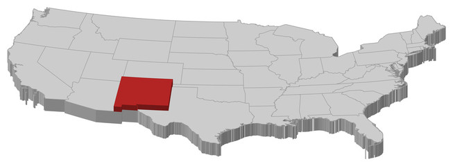 Map of the United States, New Mexico highlighted