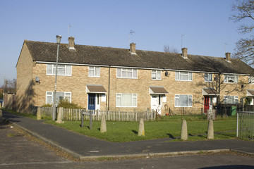 Row of terraced houses in Southern England