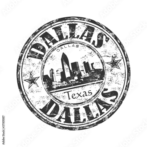 Dallas black grunge rubber stamp