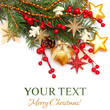 Christmas background - Xmas tree, gold decoration, red berry iso