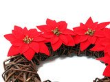 Christmas wreath with poinsettia on the white background