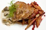 Gourmet meat with cranberries and potatoes - Scandinavian cuisin poster