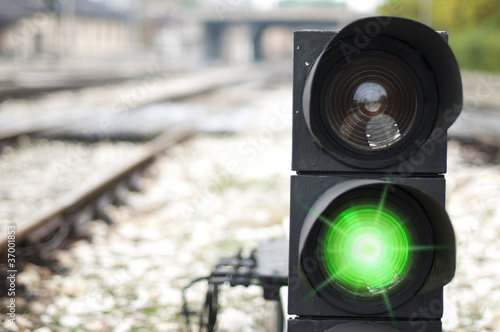 Traffic light shows green signal