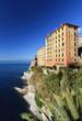 palazzi sul mare a Camogli, Liguria, Italia