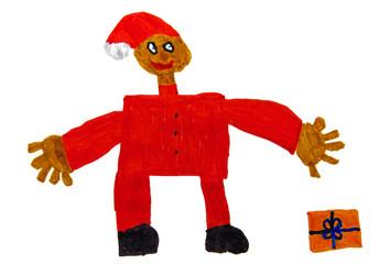 Kinderzeichnung Weihnachtsmann