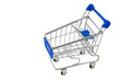 Empty shopping cart isolated on white