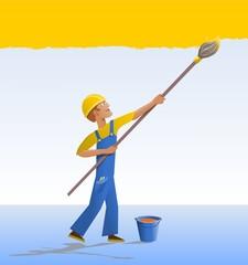 Cartoon house painter.
