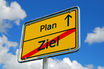 Ziel - Plan - Vorwärts - Schild