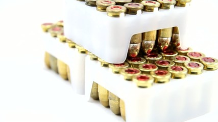 Gun ammunition boxes pile rotating