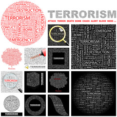 TERRORISM concept illustration. GREAT COLLECTION.