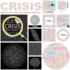 CRISIS concept illustration. GREAT COLLECTION.