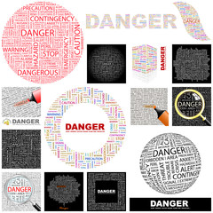 DANGER concept illustration. GREAT COLLECTION.