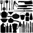 A silhouettes vector collection of Baking, Cooking Tools