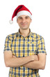 young guy with christmas hat