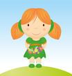 vector girl with flowers cartoon