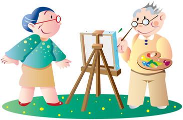 絵を描く老人