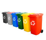 Colorful Recycle Bins Isolated With Recycle Sign