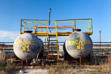 Chemical storage tank with sulfuric acid