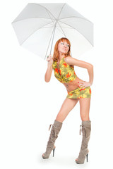 young beautiful woman with  umbrella