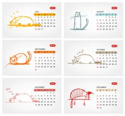 Vector calendar 2012, july. Funny cats design
