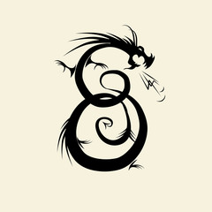 Number eight made from dragon