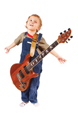 Little boy with electric guitar on white background