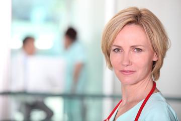 Blond female doctor