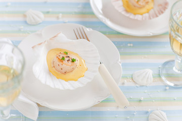 Scallops with saffron sauce