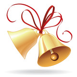 Bell golden for  Christmas or wedding with red bow