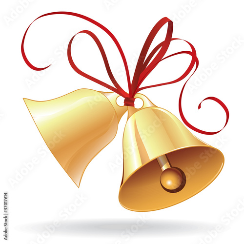Bell golden for  Christmas or wedding with red bow - 37017614
