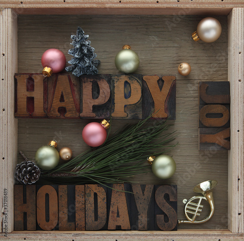 happy holidays with decorations