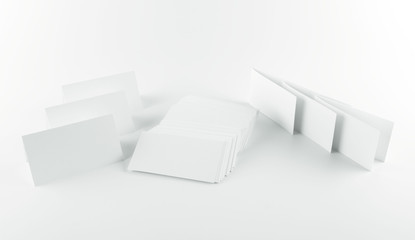 Different types of blank white business cards