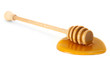wooden honey dipper with honey