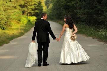 beauty, couple, lifestyle, walking, wedding, young