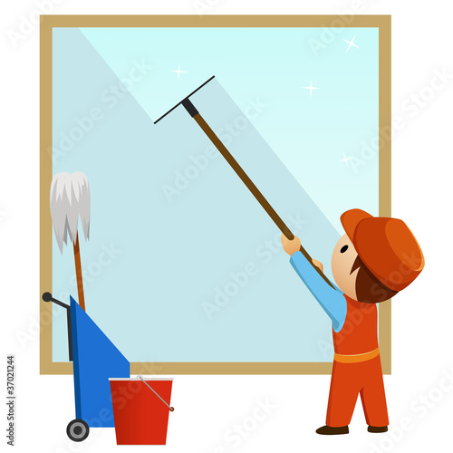 Man cleaning and wash window
