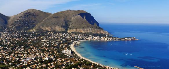 Panoramica del golfo di Mondello, Sicilia